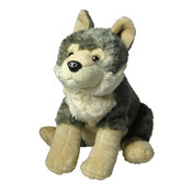 White and gray wolf plush toy
