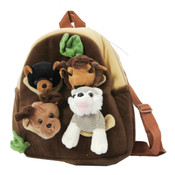 Kid backpack with 4 stuffed animals