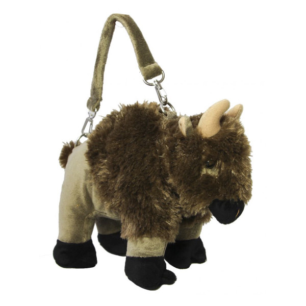 Plush animal bag - bison with strap
