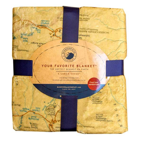 Microfiber blanket featuring map