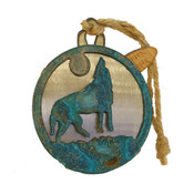 Metallic wolf ornament with twine