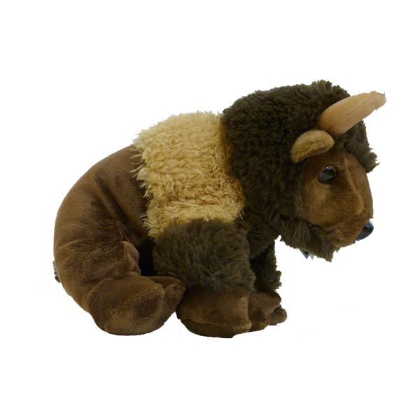 Brown plush bison hand puppet